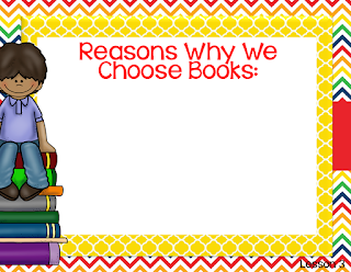 "Create an anchor chart with your students on reasons why they choose books to help them begin thinking about what makes a ""good fit"" book for them."
