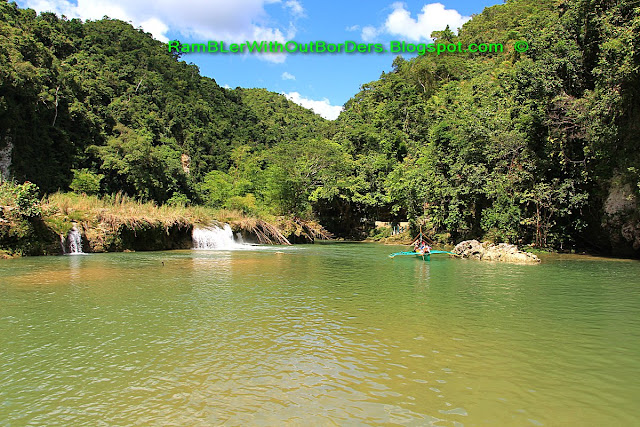 waterfall, double outrigger canoe, Loboc River, Bohol, Philippines
