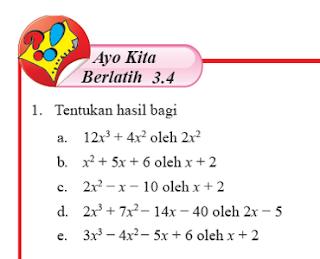 Soal dan Jawaban Ayo Berlatih 3.4 Aljabar Matematika kelas 7 Halaman 231-232