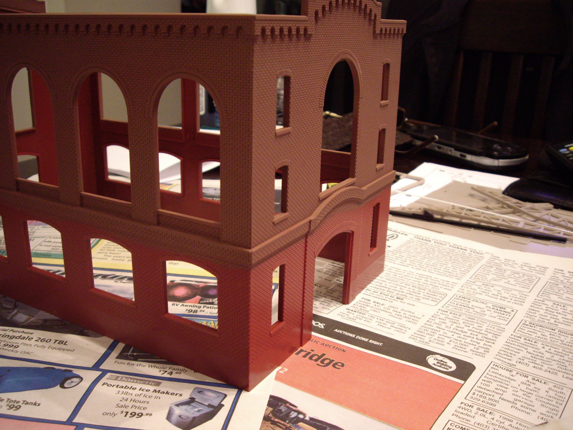 Northern Light & Power kit partially painted with Humbrol brick red enamel paint