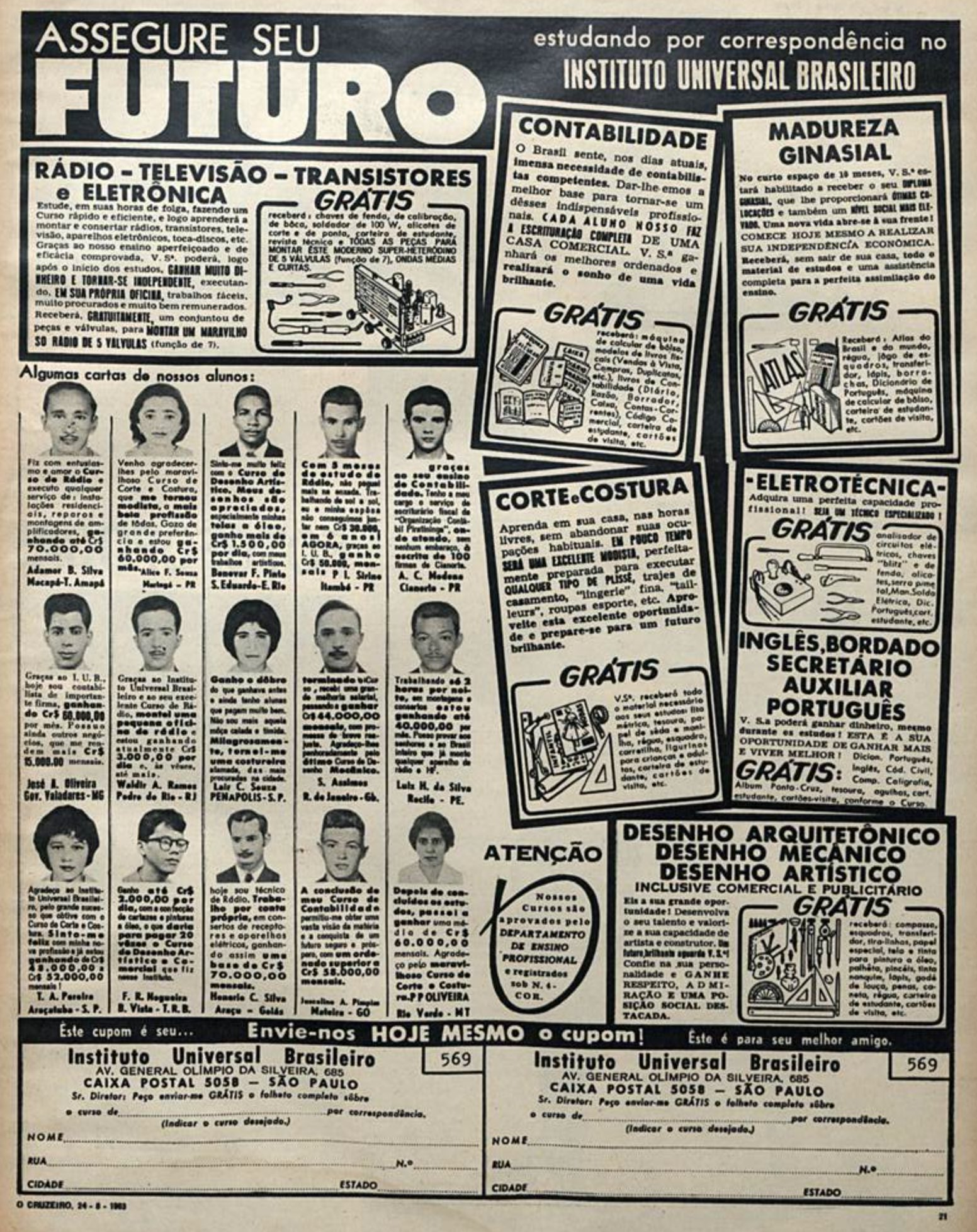 Anúncio com ofertas de cursos profissionalizantes do Instituto Universal Brasileiro em 1963