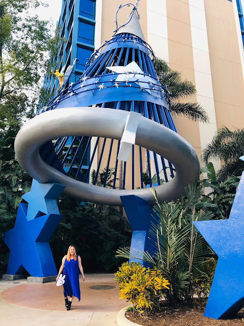#BoundtoParkHop, Instagram photo challenge, clothing challenge, Disneyland, Disney bounding, Disney bounds, Jamie Allison Sanders, Favorite Hotel, The Disneyland Hotel, JustFab star booties, Cakeworthy Mickey Peace Sign Purse, Eileen Fisher silk gown