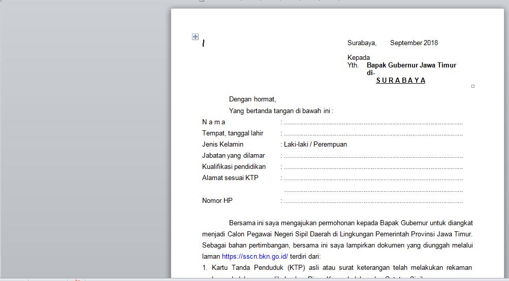 Form Surat Lamaran Calon Pegawai Negeri Sipil (CPNS) Tahun 2018