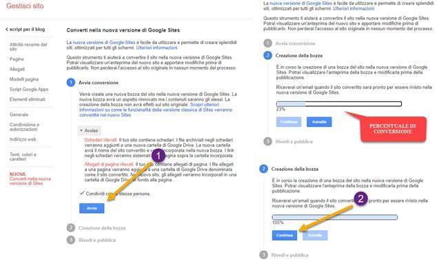 conversione siti nella nuova versione di google sites