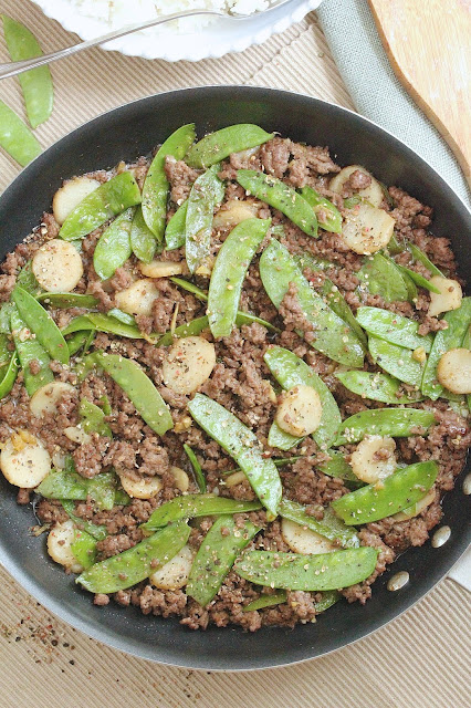 Peppercorn Beef and  Snow Peas