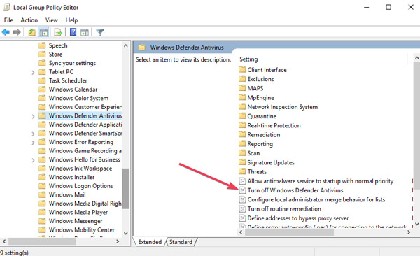 تعطيل برنامج Windows Defender