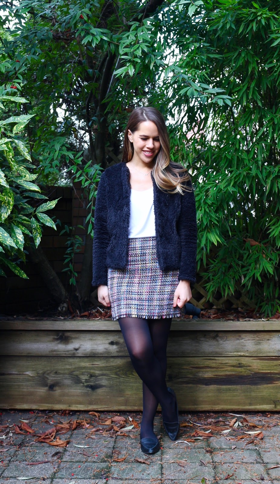 Jules in Flats - Faux Fur Bomber Cardigan Jacket with Tweed Mini Skirt (Business Casual Winter Workwear on a Budget)