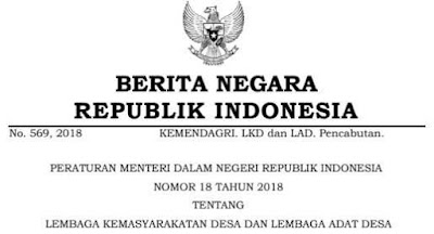 Permendagri Nomor 18 Tahun 2018