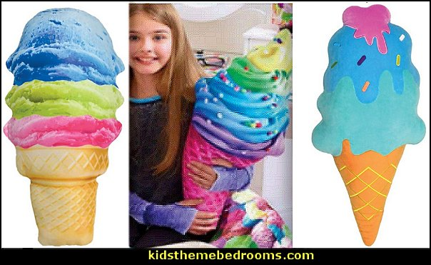 sweet iscream  ice cream cone pillows  cupcakes bedroom ideas - cupcakes theme candy decorating candyland sweets - cupcake bedding - cupcake decor - candy decor -  Ice Cream decor - cupcakes and candy bedroom ideas - candy theme bedroom - cupcakes and candy decor - Candy party props - Candy party decorations - candyland gingerbread decorations