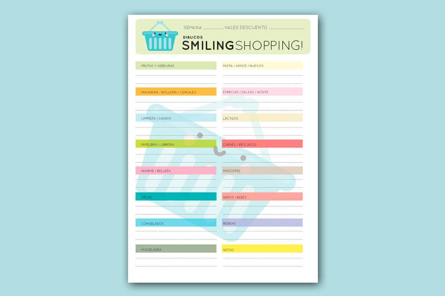 [freebie] Plantilla imprimible para una lista de la compra más sonriente