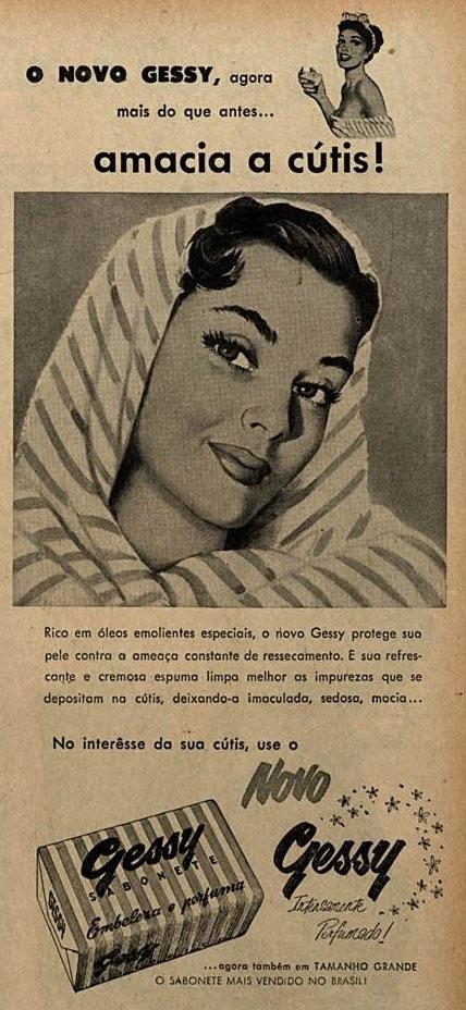 Propaganda antiga do lançamento do novo Sabonete Gessy em 1954