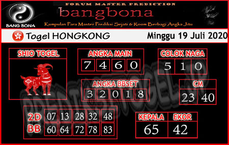 Prediksi Bangbona HK Minggu 19 Juli 2020