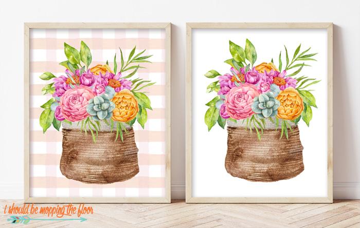 Flowers in a Basket Printable