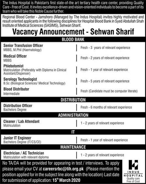 The Indus Hospital Sehwan Sharif Jobs 2020