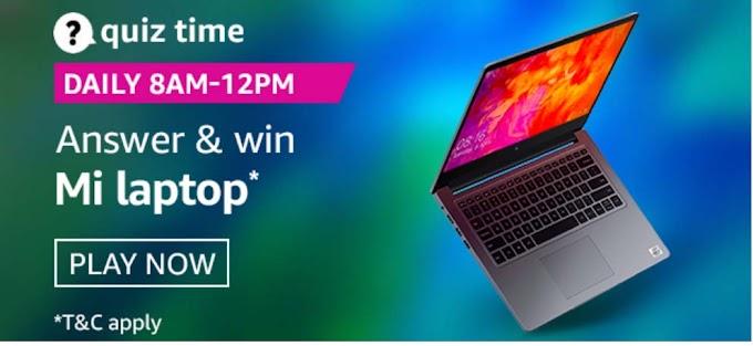 Amazon Quiz 1 September 2020 Answers – Win Mi Laptop