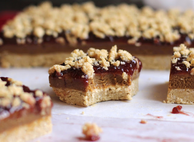 Healthy Peanut Butter and Jelly Shortbread Bars (gluten free, no bake, high protein) - Desserts with Benefits