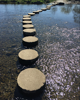Circular Stepping stones in a shallow body of water