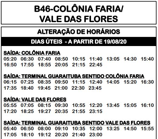 Horário de ônibus B46 COLÔNIA FARIA/ VALE DAS FLORES 2020