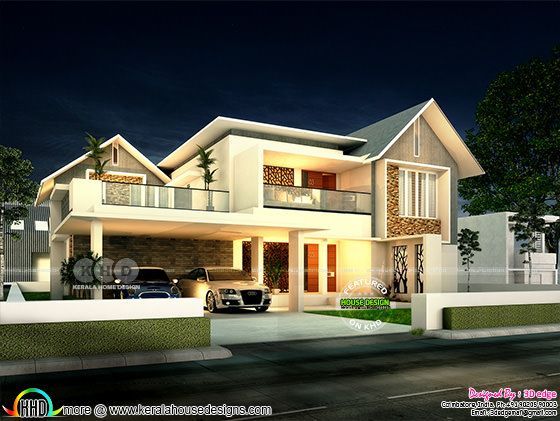 Modern mixed roof home plan in Kerala