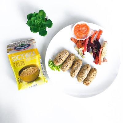 Kotleciki z soczewicy i warzywne frytki