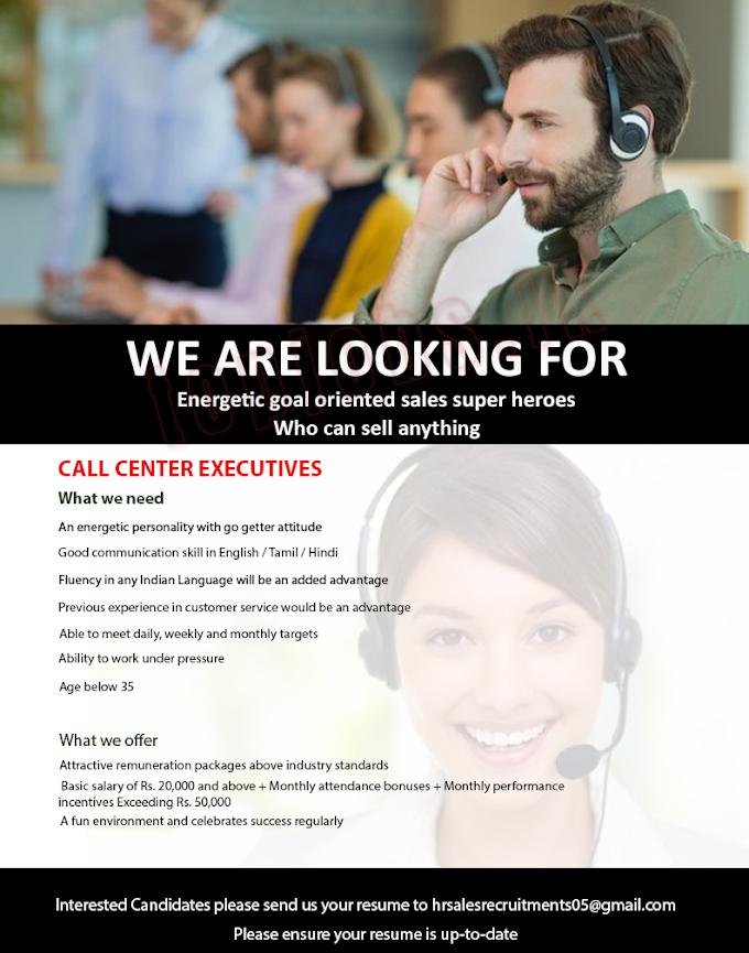 Call Center Executive Private Job Vacancies