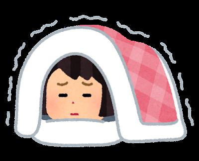 寒くて布団が出られない人のイラスト(女性)