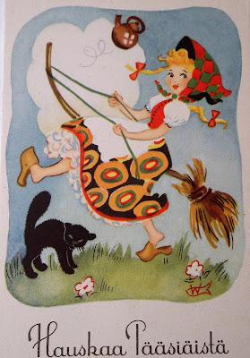 vanha pääsiäiskortti, trulli, kissa, noita