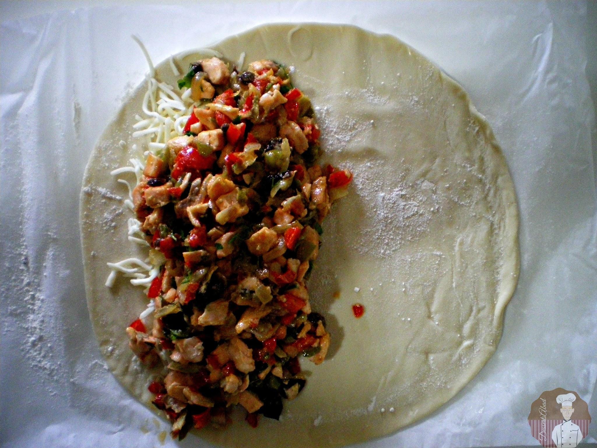 Calzone de salmon con verduras: Relleno con el sofrito