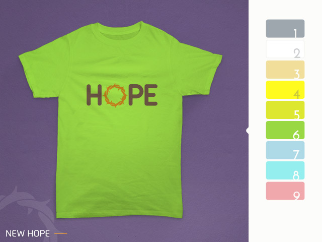 desain kaos hope diterapkan pada kain warna hijau stabilo