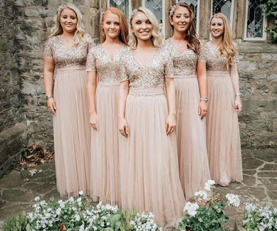Champagne Gold Bridesmaid long dresses