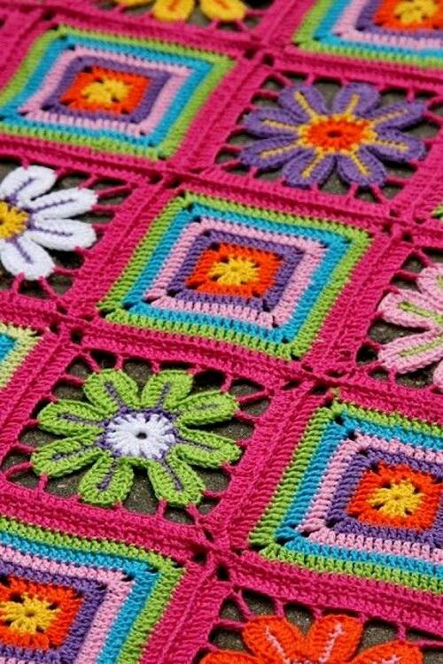 Crochet afghan - 2 crochet afghan squares