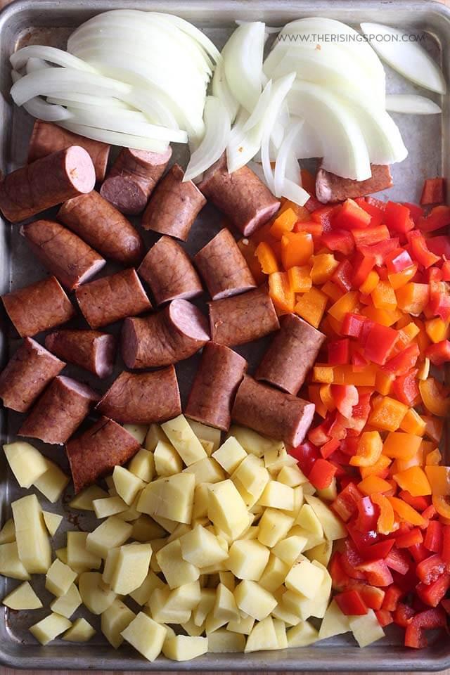 Prepping Easy Sheet Pan Dinner Recipe with Smoked Sausage, Potatoes & Veggies