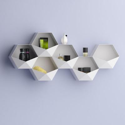 رف, تخزين,ديكور,hexagon, floating, shelves