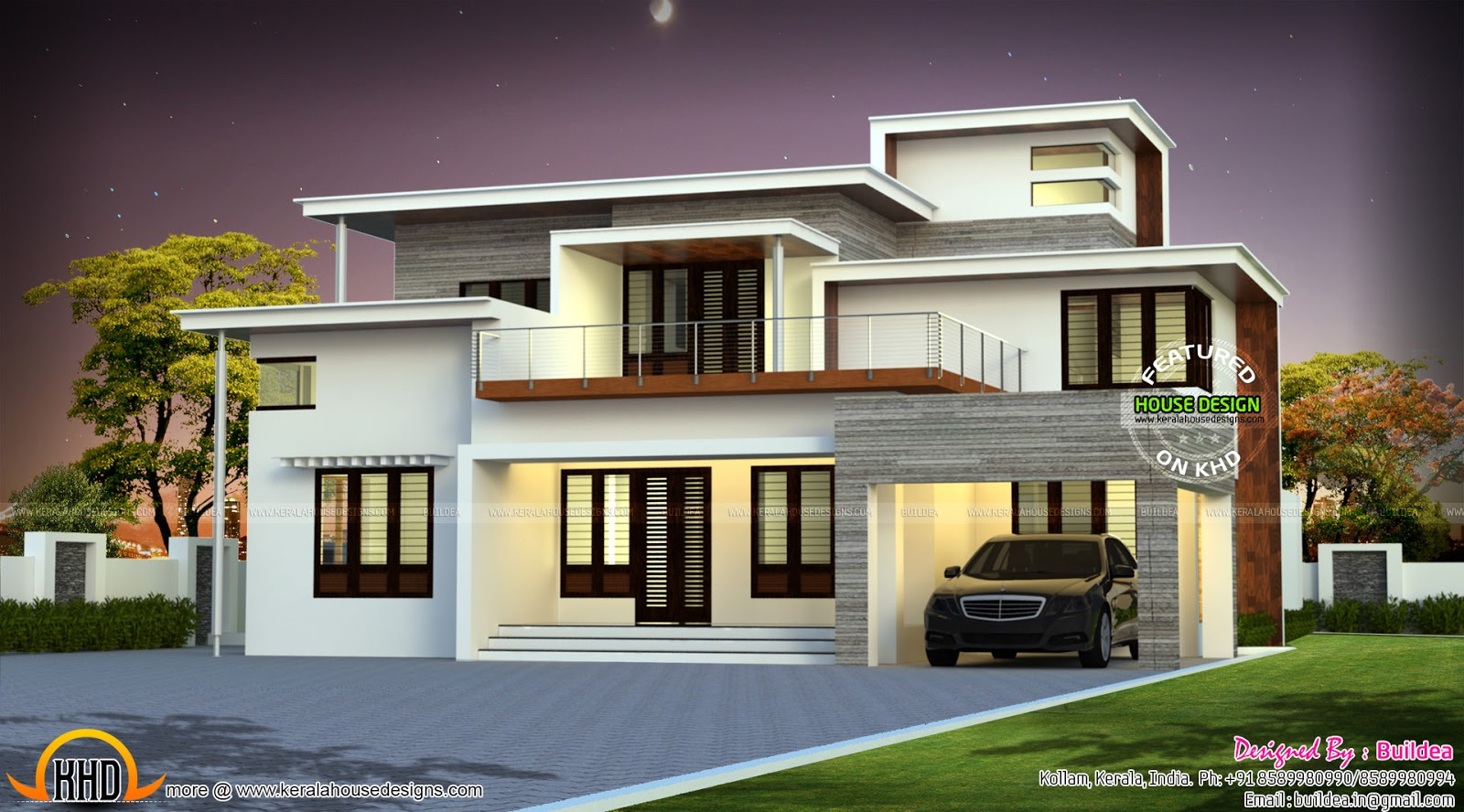 Box type 4 bedroom attached home kerala home design and for Modern box house design