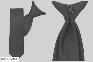 Image of a black clip-on tie