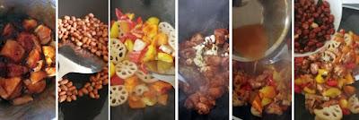 Zubereitung Gongbao Jiding mit Paprika und Lotoswurzeln
