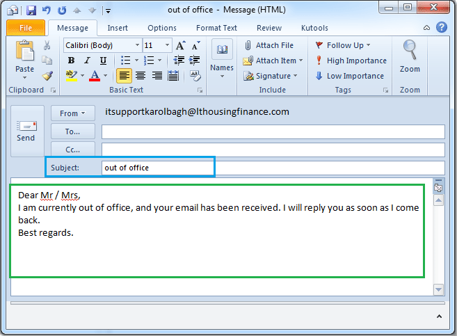 Outlook 2010 how to set out of office in outlook 2010 click home new e mail to create a new message type the subject and message as you need see screenshot maxwellsz