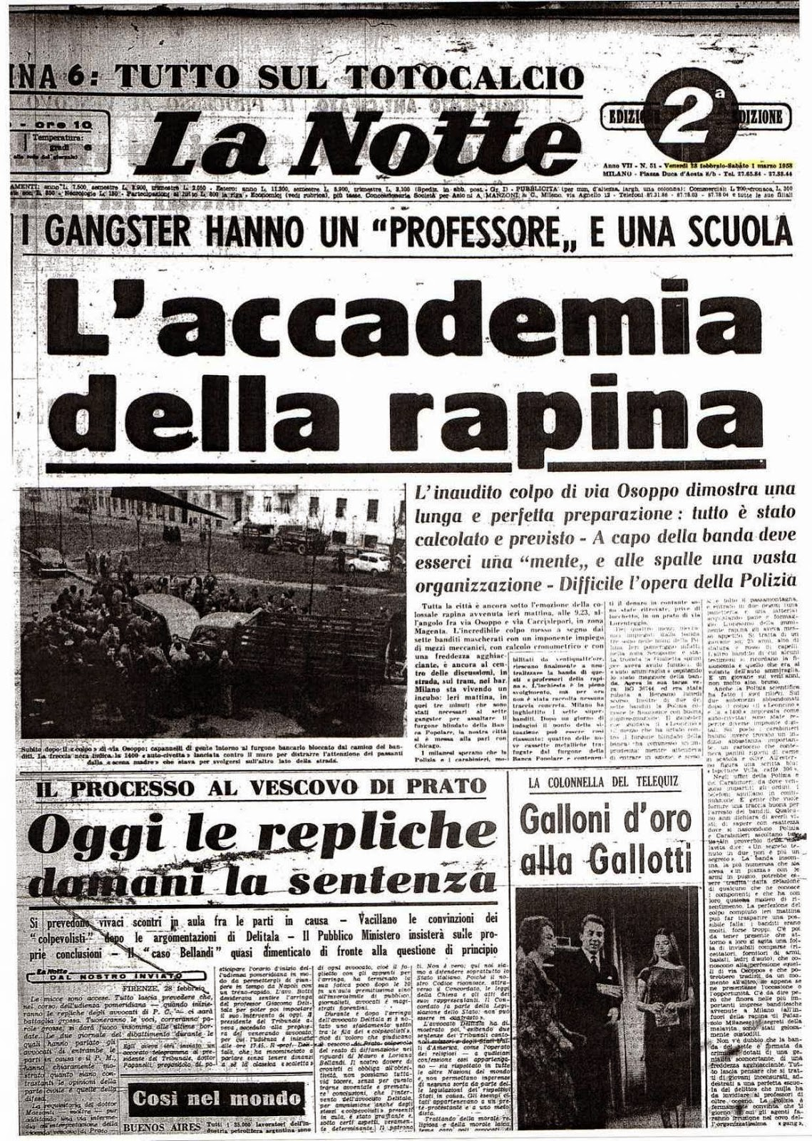 La Notte l'accademia della rapina Osoppo Milano Ciappina De maria