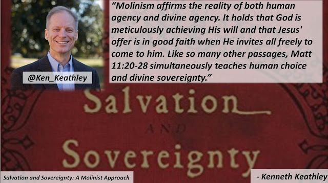 "Quote from ""Salvation and Sovereignty: A Molinist Approach"" by Dr. Kenneth Keathley- ""Molinism affirms the reality of both human agency and divine agency. It holds that God is meticulously achieving His will and that Jesus' offer is in good faith when He invites all freely to come to him. Like so many other passages, Matt 11:20-28 simultaneously teaches human choice and divine sovereignty."" #Molinism #GreatCommission #Jesus #Bible #Theology #Salvation"