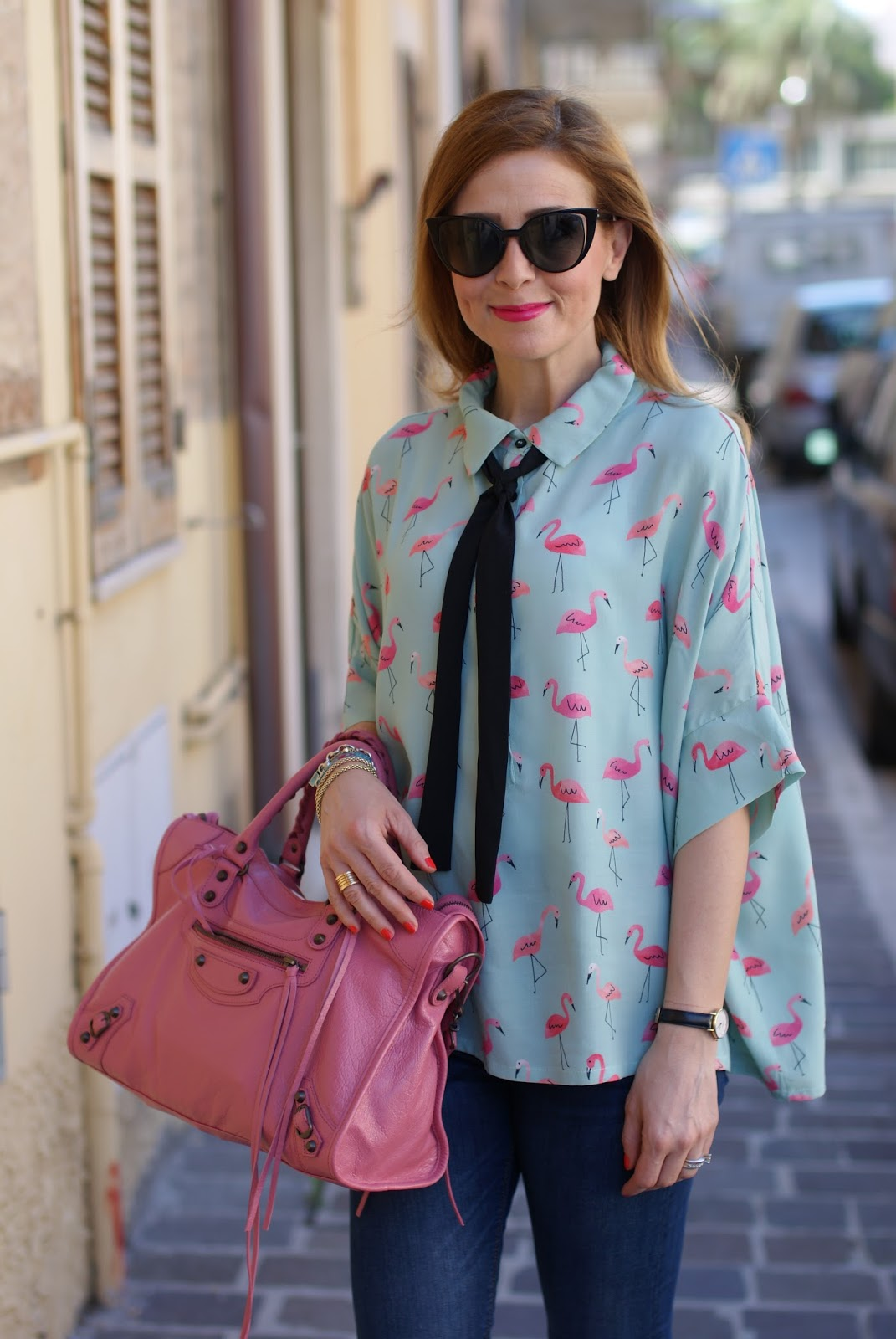 Flamingo print shirt and Balenciaga City in rose orthensia on Fashion and Cookies fashion blog, fashion blogger style