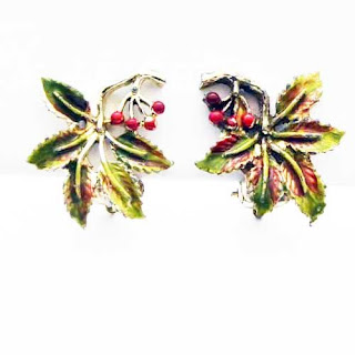 Holly enamelled clip earrings by Exquisite
