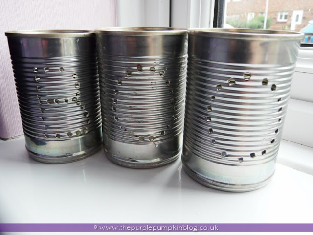 ~Tin Can Luminaries {Crafty October} at The Purple Pumpkin Blog~
