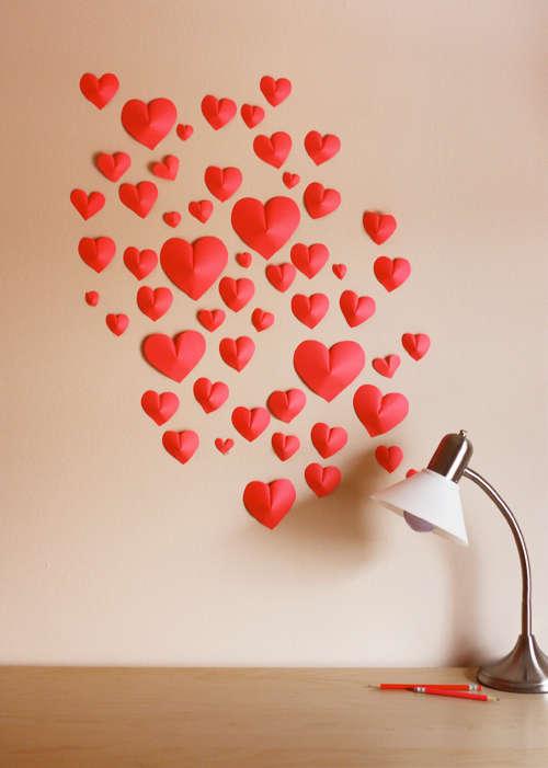parede de corações 3d