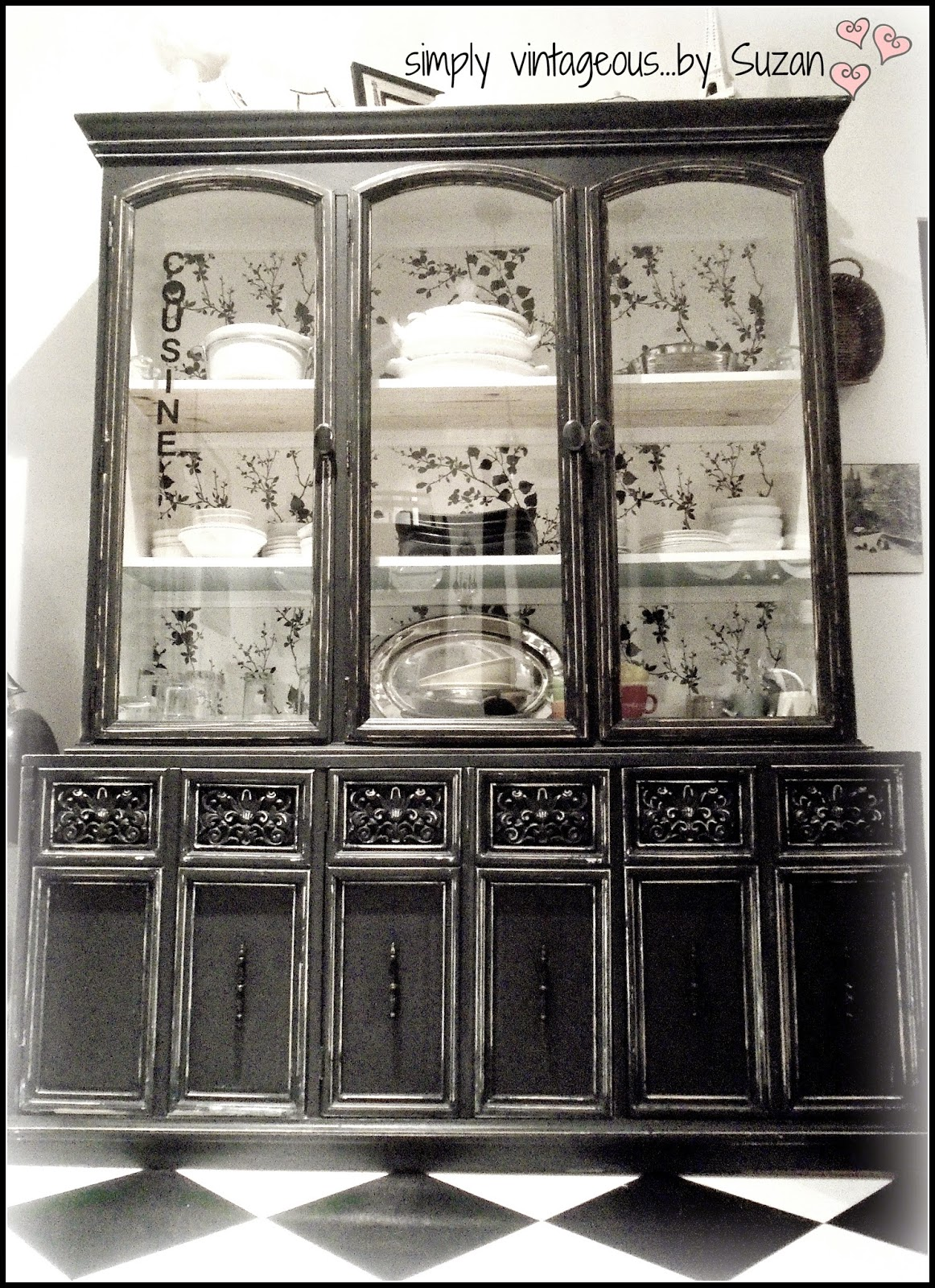 simply vintageous...by Suzan: Black Kitchen Hutch !