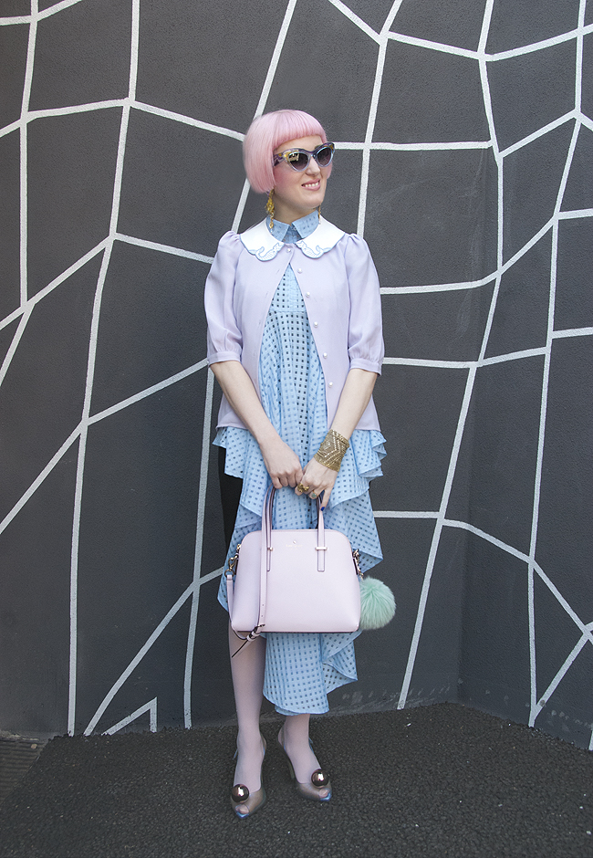 pastel outfit, blogger look, baby blue dress