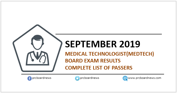 RESULT: September 2019 Medtech board exam list of passers