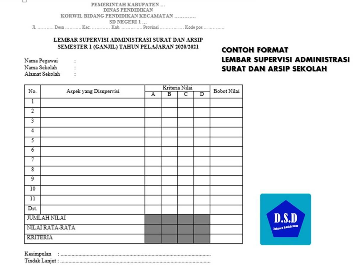 Contoh Lembar Supervisi Administrasi Surat dan Arsip Sekolah