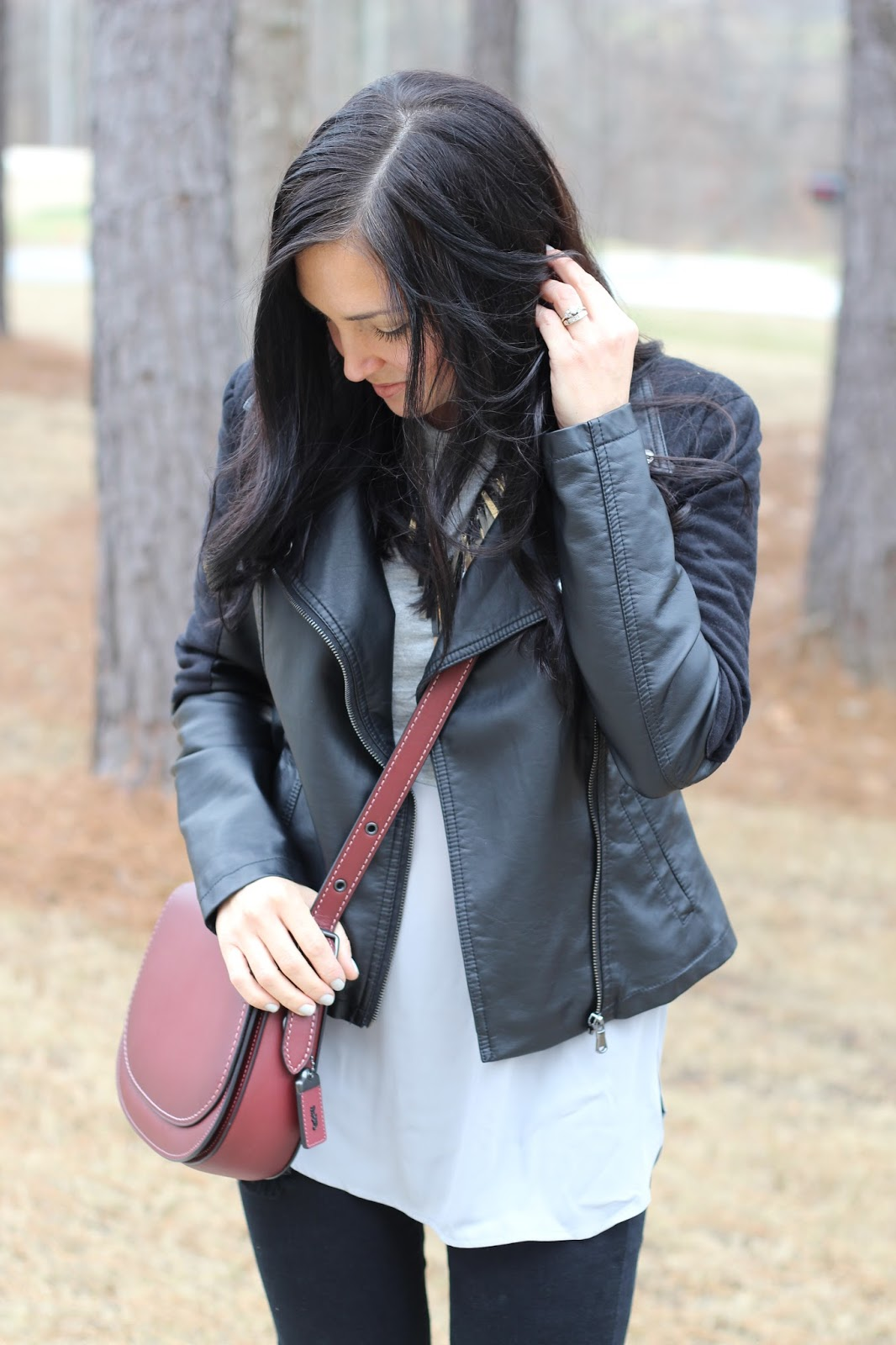 Leather Jacket, Distressed Denim, Coach Saddle Bag, Stilettos