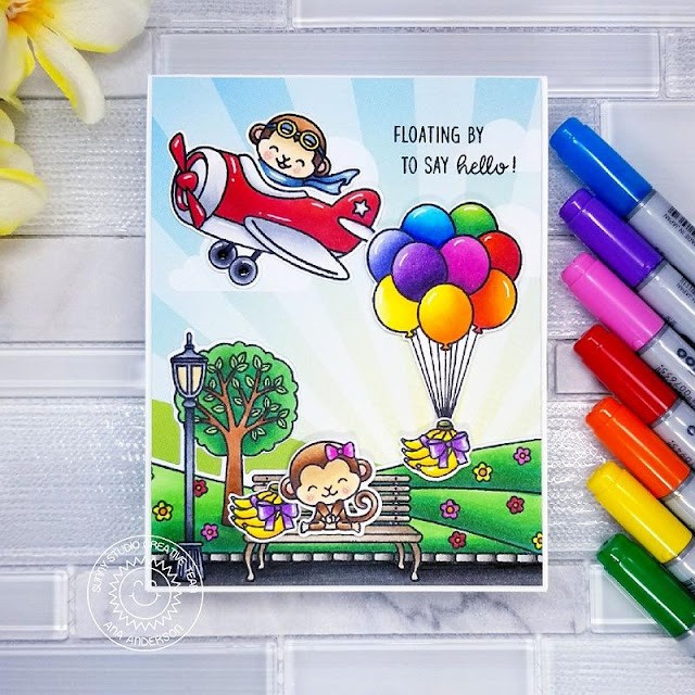 Sunny Studio Stamps: Floating By Spring Scenes Plane Awesome Love Monkey Birthday Card by Ana Anderson