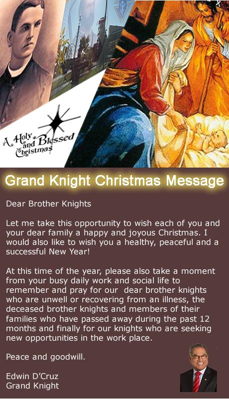 KofC Council 12067: GRAND KNIGHT CHRISTMAS MESSAGE